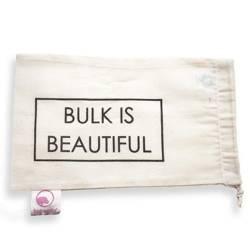 """Worek z organicznej bawełny z nadrukiem """"BULK IS BEAUTIFUL"""", 15 x 25 cm"""